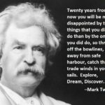20 years from now - Mark Twain